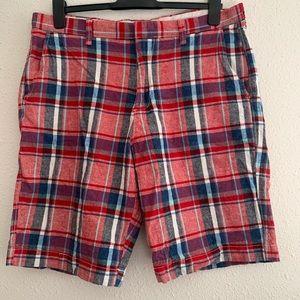 J Crew Rivington Golf Plaid Linen Shorts